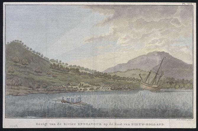 The 1770 Endeavour River settlement. (I.S. Klauber sculpts, Gezigt van de Rivier Endeavour op de Kust van Nieuw-Holland, 1795, National Library of Australia.)