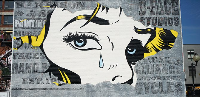 Artist: D*Face Photo: HALOPIGG. 3547 Saint Laurent Boulevard, Montreal, Canada. Reproduced with permission from Street Art, © 2017 Lonely Planet