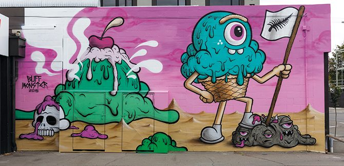 Artist: Buff Monster Photo: Luke Shirlaw. Underground Coffee Roasters, 190 Durham Street South, Christchurch, New Zealand. Reproduced with permission from Street Art, © 2017 Lonely Planet