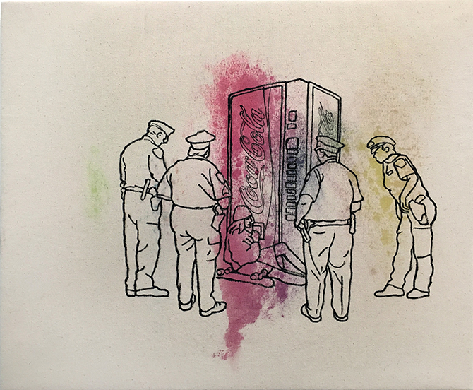 Anthony Bartok, Coke Machine 2017, acrylic on canvas, 50 x 60 cm. Terms and Conditions: Anthony Bartok, Stacks Projects 191 Victoria Rd, Potts Point (NSW), 13 – 30 July 2017