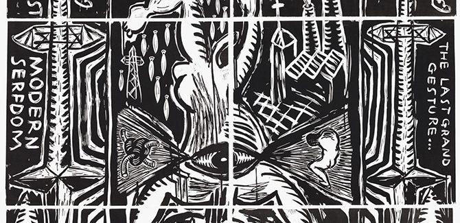 Post Modern Serfdom 2017, linocut, 150 x 120 cm.