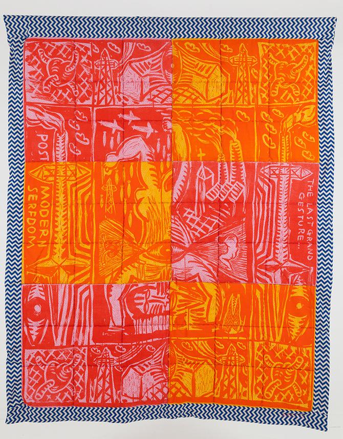 Post Modern Serfdom 2017, quilted linocuts, 160 x 130 cm.