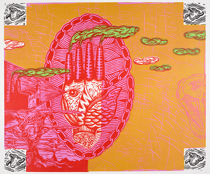 Earthmother Gets Sold A Pup 2016 linocut.