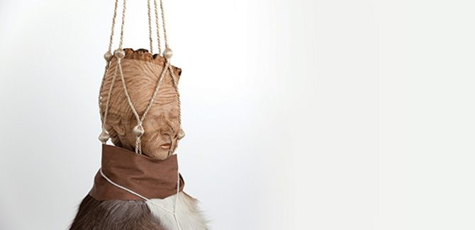 Wanda Gillespie, Seeker 1 (Fuyuko) 2016, woodcarving (ash), paint, fur, fabric, leather, string, 140 x 40 x 40cm. Image courtesy of the artist. I Was Here, Fremantle Arts Centre, 1 Finnerty Street, Fremantle (WA), 22 July — 16 September 2017