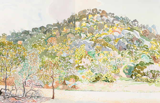 Mark Dober, Fawcett's Gully 1 (detail) 2016, watercolour and gouache on paper. Courtesy of the artist. Photographer: James McArdle and Lorena Carrington. The You Yangs — Mark Dober, Geelong Gallery, 55 Little Malop Street, Geelong (VIC), 14 August – 15 October 2017